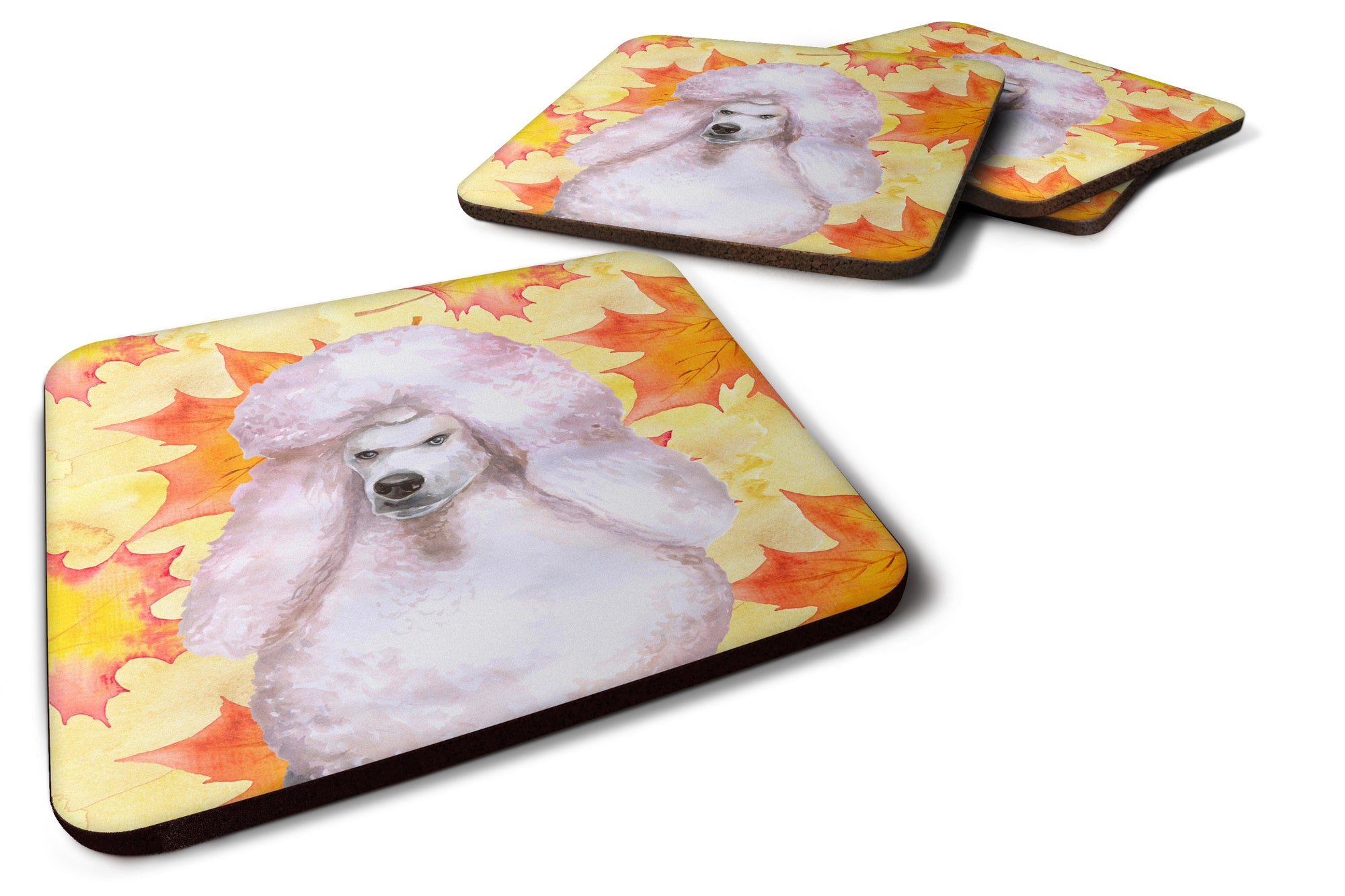 Buy this White Standard Poodle Fall Foam Coaster Set of 4 BB9978FC