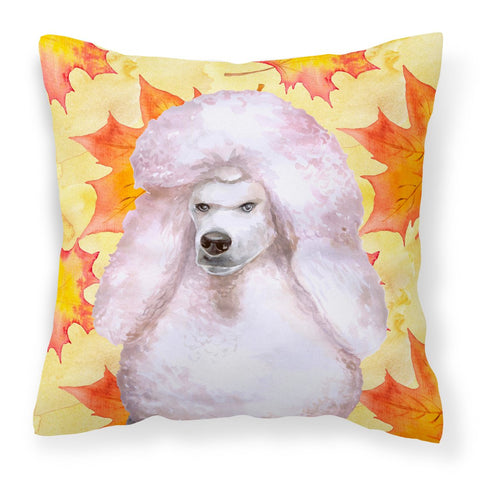 Buy this White Standard Poodle Fall Fabric Decorative Pillow BB9978PW1818