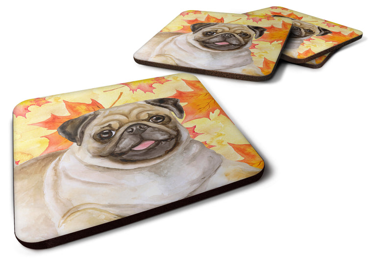 Buy this Fawn Pug Fall Foam Coaster Set of 4 BB9979FC