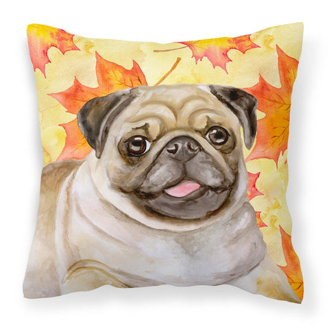 Buy this Fawn Pug Fall Fabric Decorative Pillow BB9979PW1818