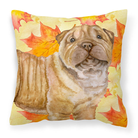 Buy this Shar Pei Puppy Fall Fabric Decorative Pillow BB9980PW1818