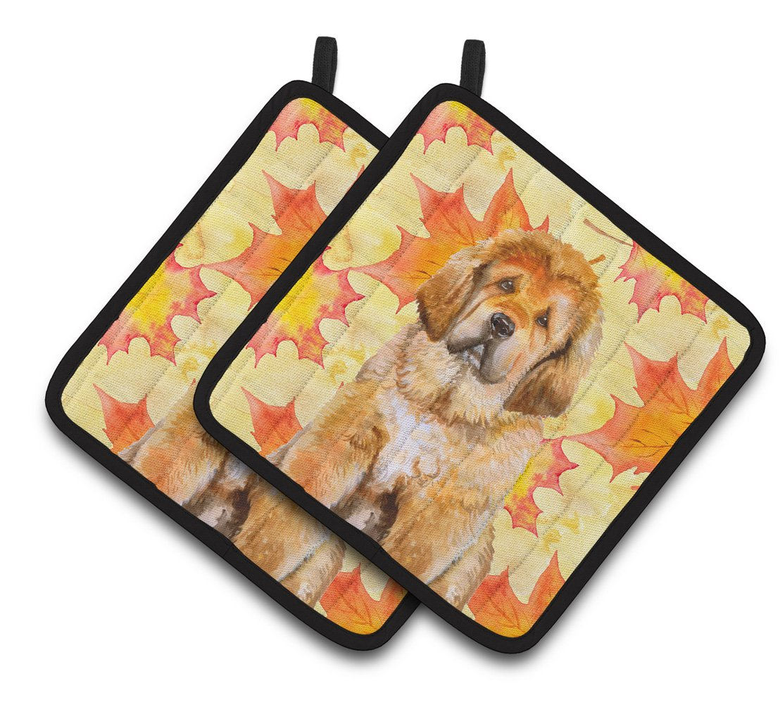 Tibetan Mastiff Fall Pair of Pot Holders BB9982PTHD by Caroline's Treasures