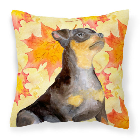 Buy this Miniature Pinscher #2 Fall Fabric Decorative Pillow BB9985PW1818