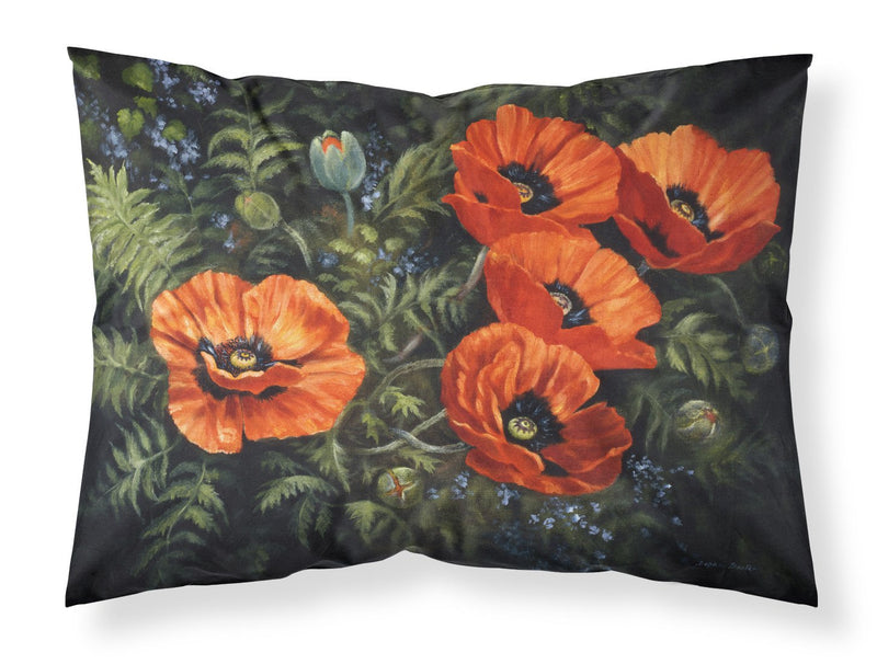 Poppies by Daphne Baxter Fabric Standard Pillowcase BDBA0007PILLOWCASE by Caroline's Treasures