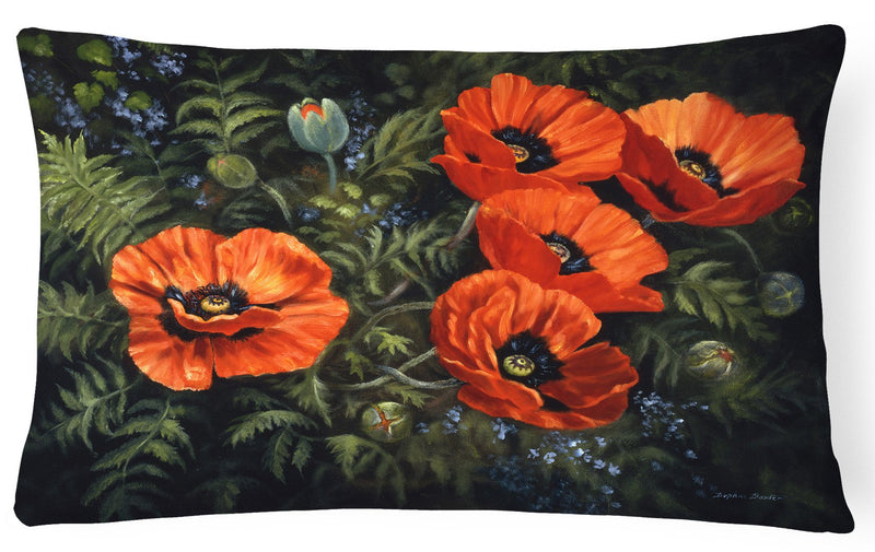 Poppies by Daphne Baxter Fabric Decorative Pillow BDBA0007PW1216 by Caroline's Treasures