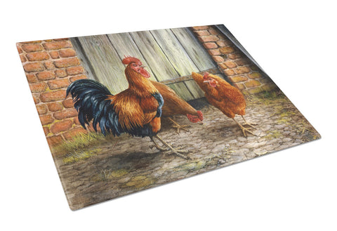 Buy this Rooster and Chickens by Daphne Baxter Glass Cutting Board Large BDBA0056LCB