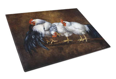 Buy this Roosting Rooster and Chickens Glass Cutting Board Large BDBA0081LCB
