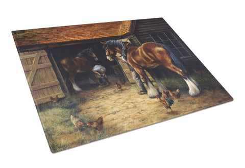 Buy this Horse and The Blacksmith by Daphne Baxter Glass Cutting Board Large BDBA0086LCB