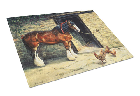 Buy this Horse and Chickens by Daphne Baxter Glass Cutting Board Large BDBA0087LCB