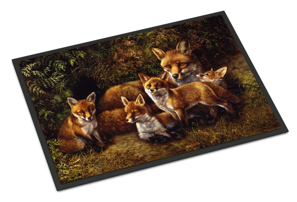 Buy this Fox Family Foxes by Daphne Baxter Indoor or Outdoor Mat 18x27 BDBA0090MAT