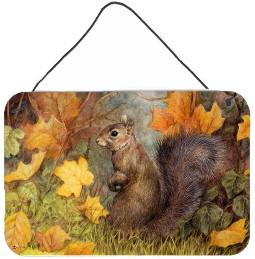 Buy this Grey Squirrel in Fall Leaves Wall or Door Hanging Prints