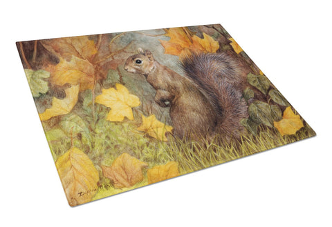 Buy this Grey Squirrel in Fall Leaves Glass Cutting Board Large BDBA0097LCB