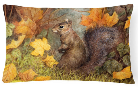 Buy this Grey Squirrel in Fall Leaves Fabric Decorative Pillow BDBA0097PW1216