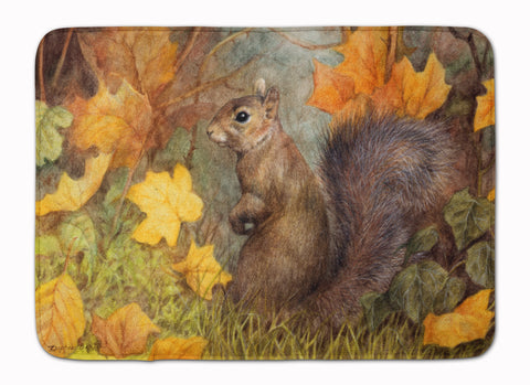 Buy this Grey Squirrel in Fall Leaves Machine Washable Memory Foam Mat BDBA0097RUG