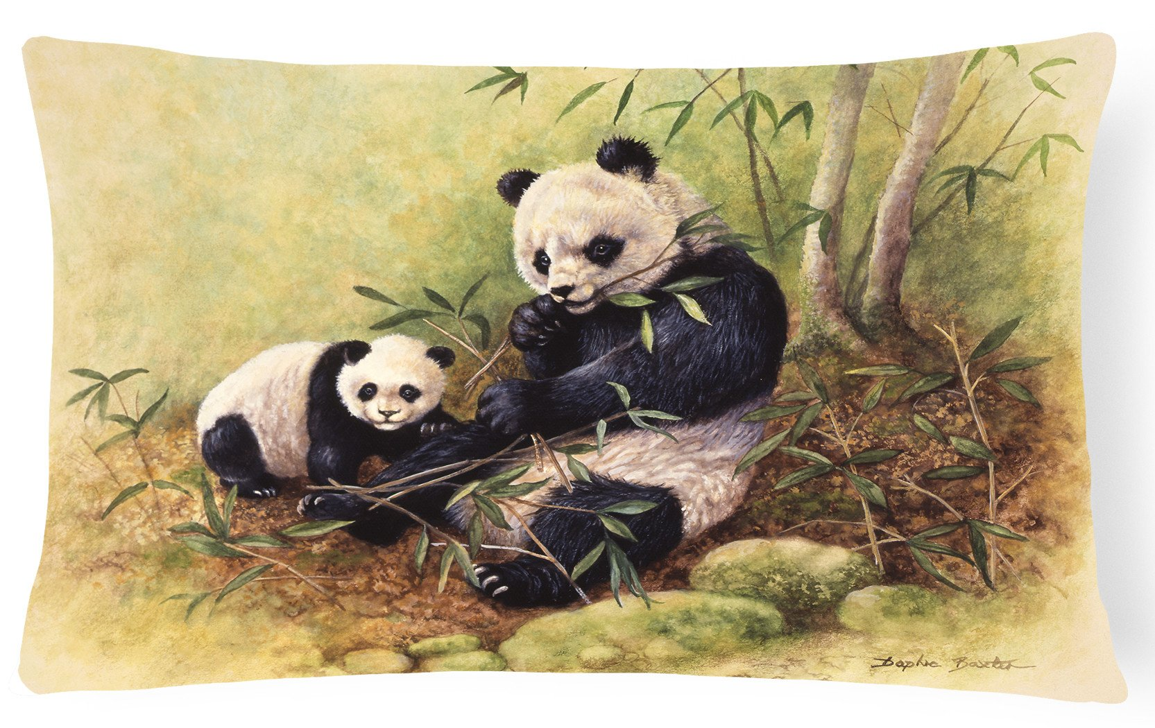 Panda Bears by Daphne Baxter Fabric Decorative Pillow BDBA0111PW1216 by Caroline's Treasures