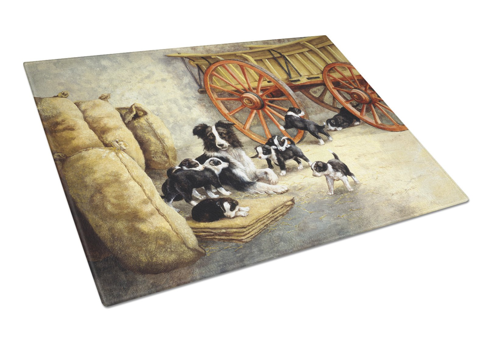 Border Collie Dog Litter Glass Cutting Board Large BDBA0118LCB by Caroline's Treasures