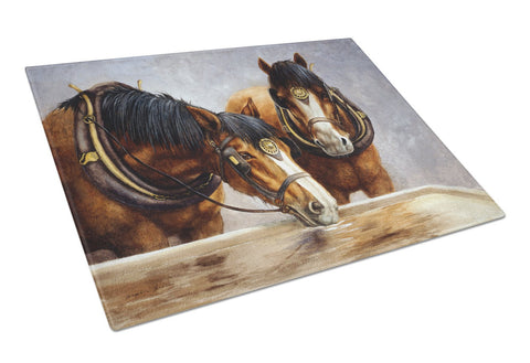 Buy this Horses Taking a Drink of Water Glass Cutting Board Large BDBA0119LCB