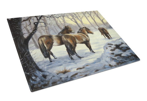 Buy this Horses in Snow by Daphne Baxter Glass Cutting Board Large BDBA0122LCB