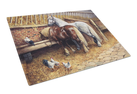 Buy this Horses Eating with the Chickens Glass Cutting Board Large BDBA0135LCB