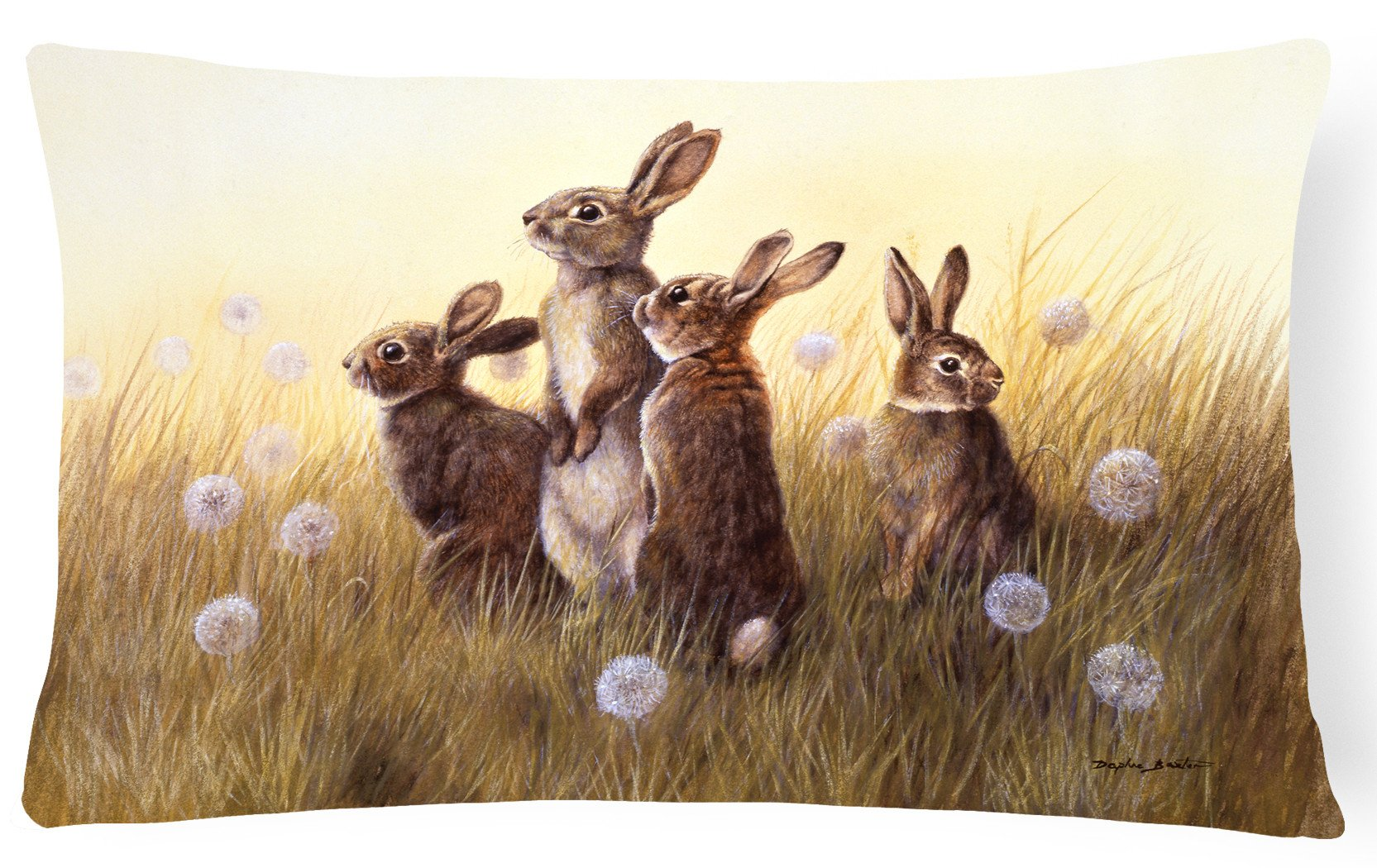 Buy this Rabbits in the Dandelions Fabric Decorative Pillow BDBA0144PW1216