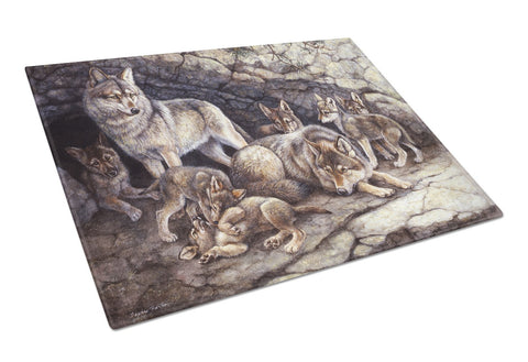 Buy this Wolf Wolves by the Den Glass Cutting Board Large BDBA0157LCB