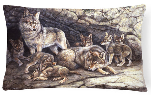 Buy this Wolf Wolves by the Den Fabric Decorative Pillow BDBA0157PW1216
