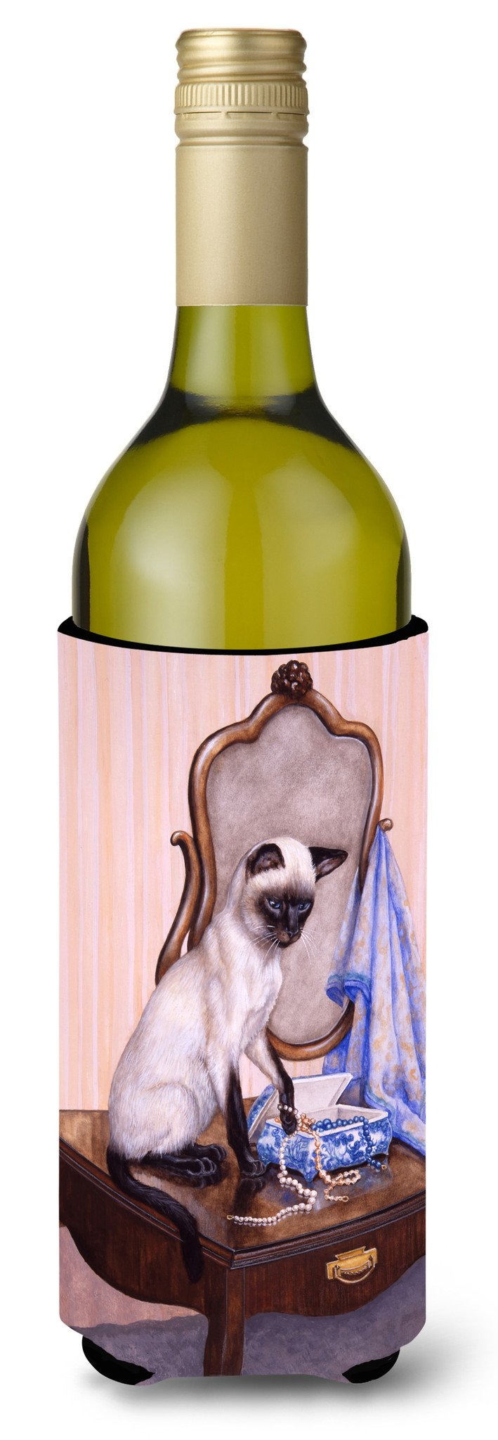 Buy this On The Dresser Siamese cat Wine Bottle Beverage Insulator Hugger BDBA0242LITERK