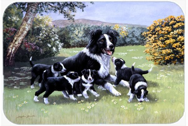 Border Collie Puppies with Momma Glass Cutting Board Large BDBA0257LCB by Caroline's Treasures