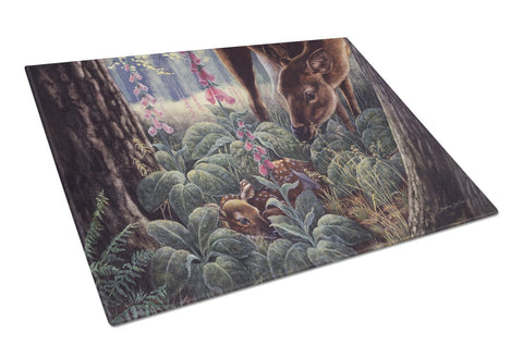 Buy this Doe and Fawn Deer Glass Cutting Board Large BDBA0259LCB