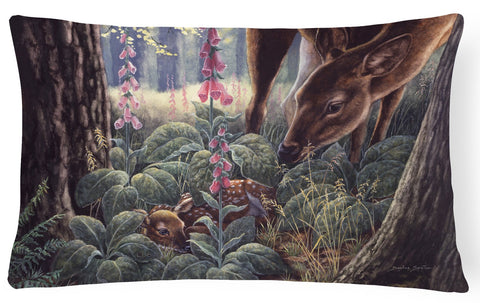 Buy this Doe and Fawn Deer Fabric Decorative Pillow BDBA0259PW1216