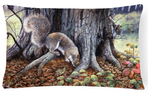 Buy this Grey Squirrels around the Tree Fabric Decorative Pillow BDBA0260PW1216