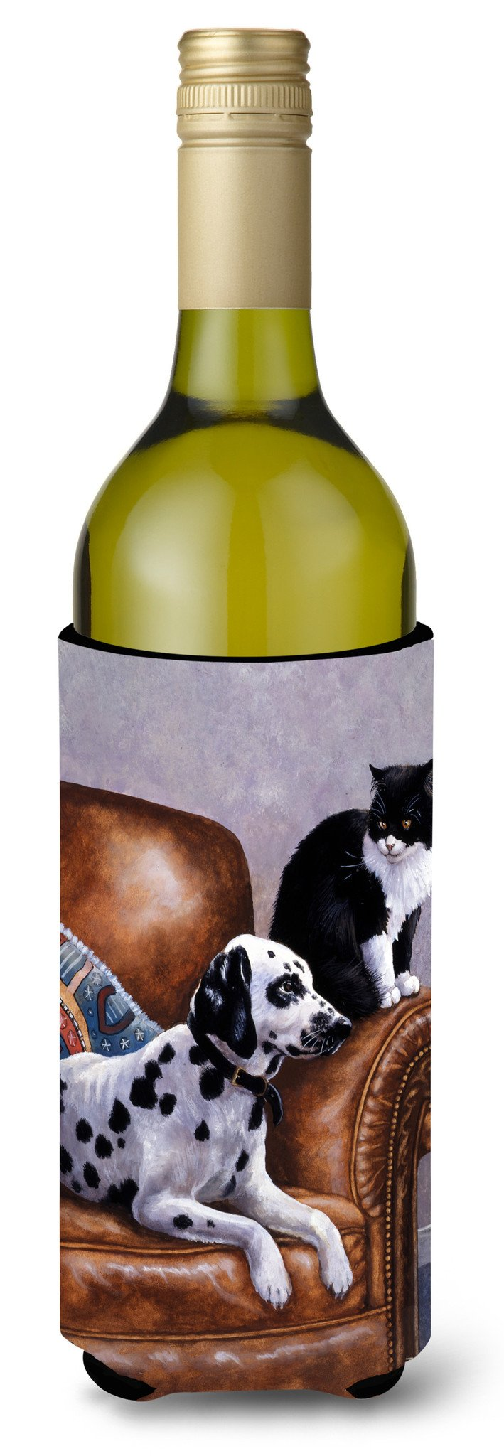 Dalmatian with Cat Wine Bottle Beverage Insulator Hugger BDBA0265LITERK by Caroline's Treasures