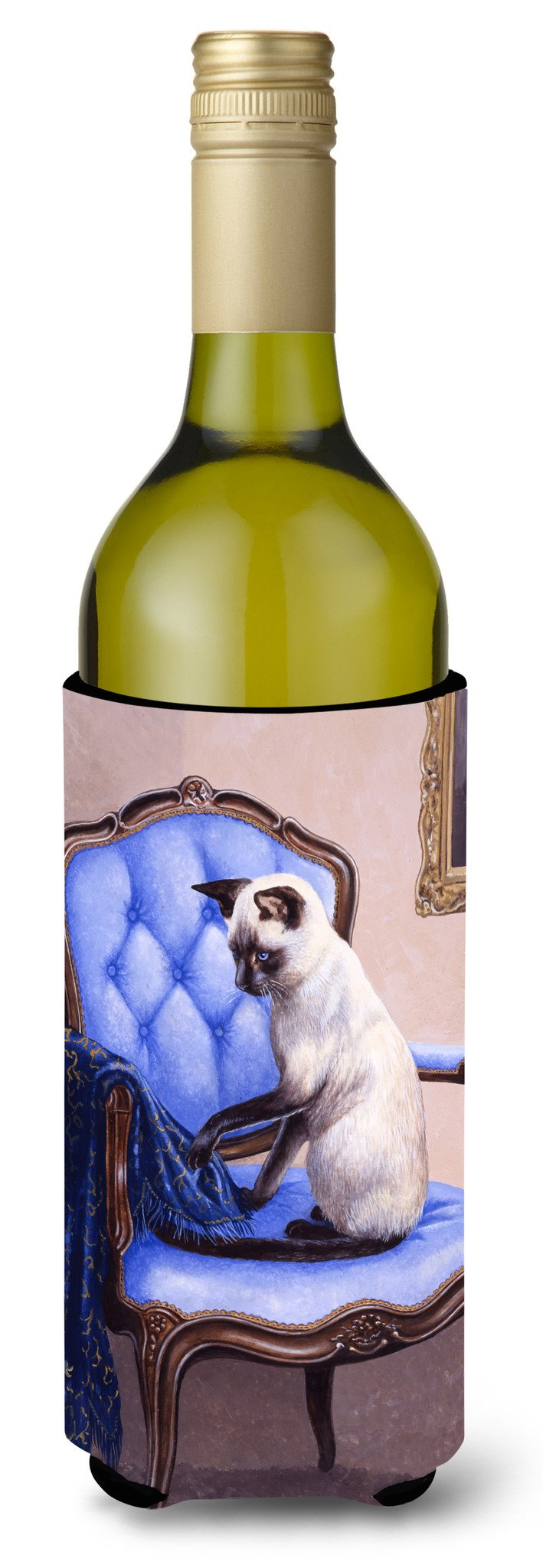 Buy this On The Chair Siamese cat Wine Bottle Beverage Insulator Hugger BDBA0273LITERK