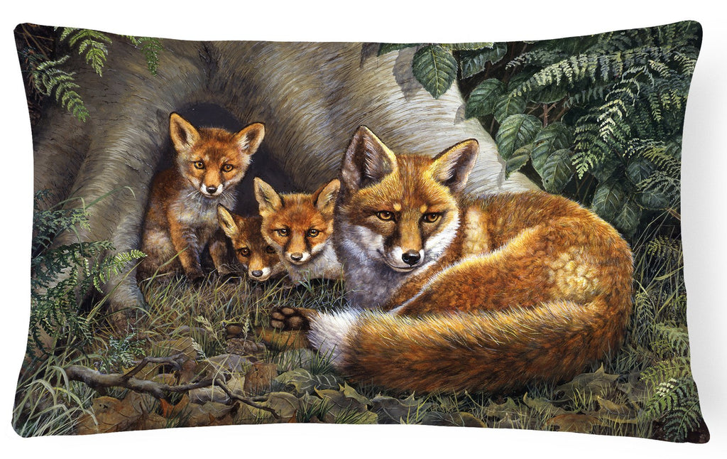 Buy this A Family of Foxes at Home Fabric Decorative Pillow BDBA0283PW1216