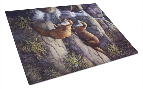 Buy this Otters by the Waterfall by Daphne Baxter Glass Cutting Board Large BDBA0293LCB