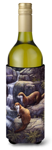 Buy this Otters by the Waterfall by Daphne Baxter Wine Bottle Beverage Insulator Hugger BDBA0293LITERK