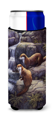 Buy this Otters by the Waterfall by Daphne Baxter Ultra Beverage Insulators for slim cans BDBA0293MUK