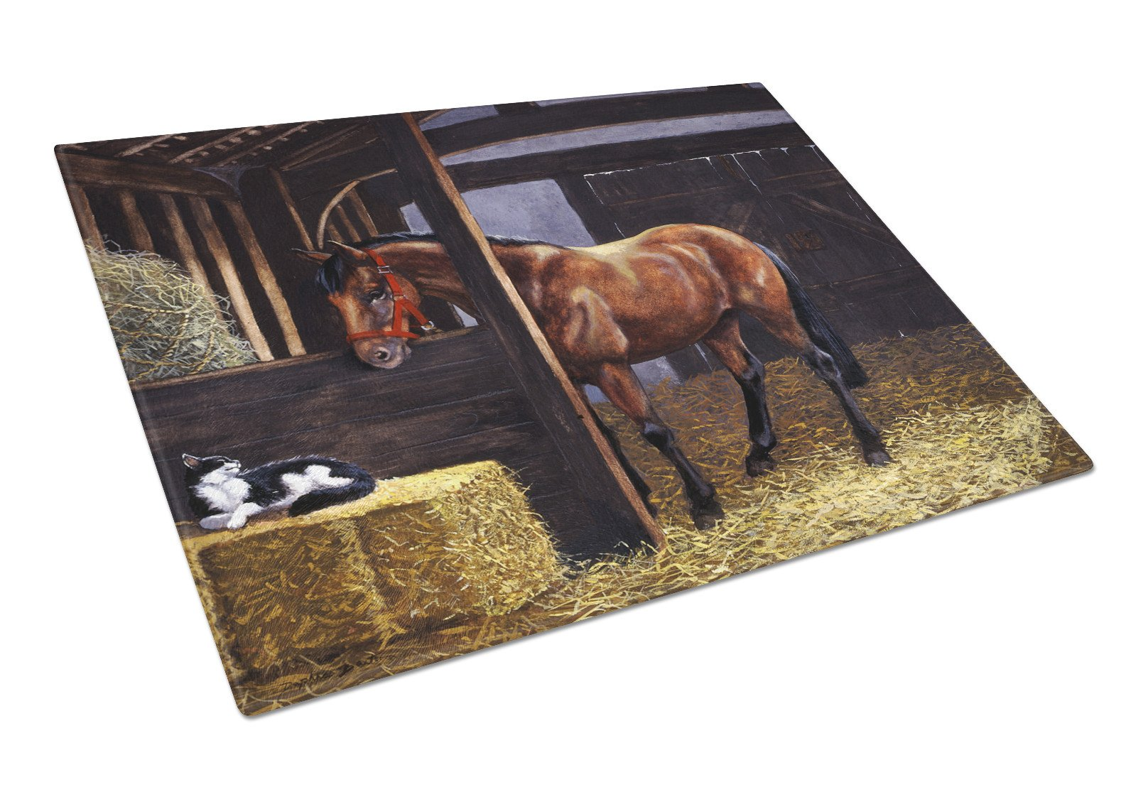 Buy this Horse In Stable with Cat Glass Cutting Board Large BDBA0295LCB