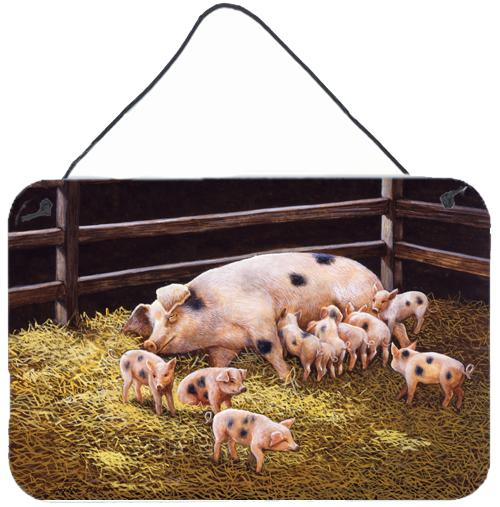 Pigs Piglets at Dinner Time Wall or Door Hanging Prints by Caroline's Treasures