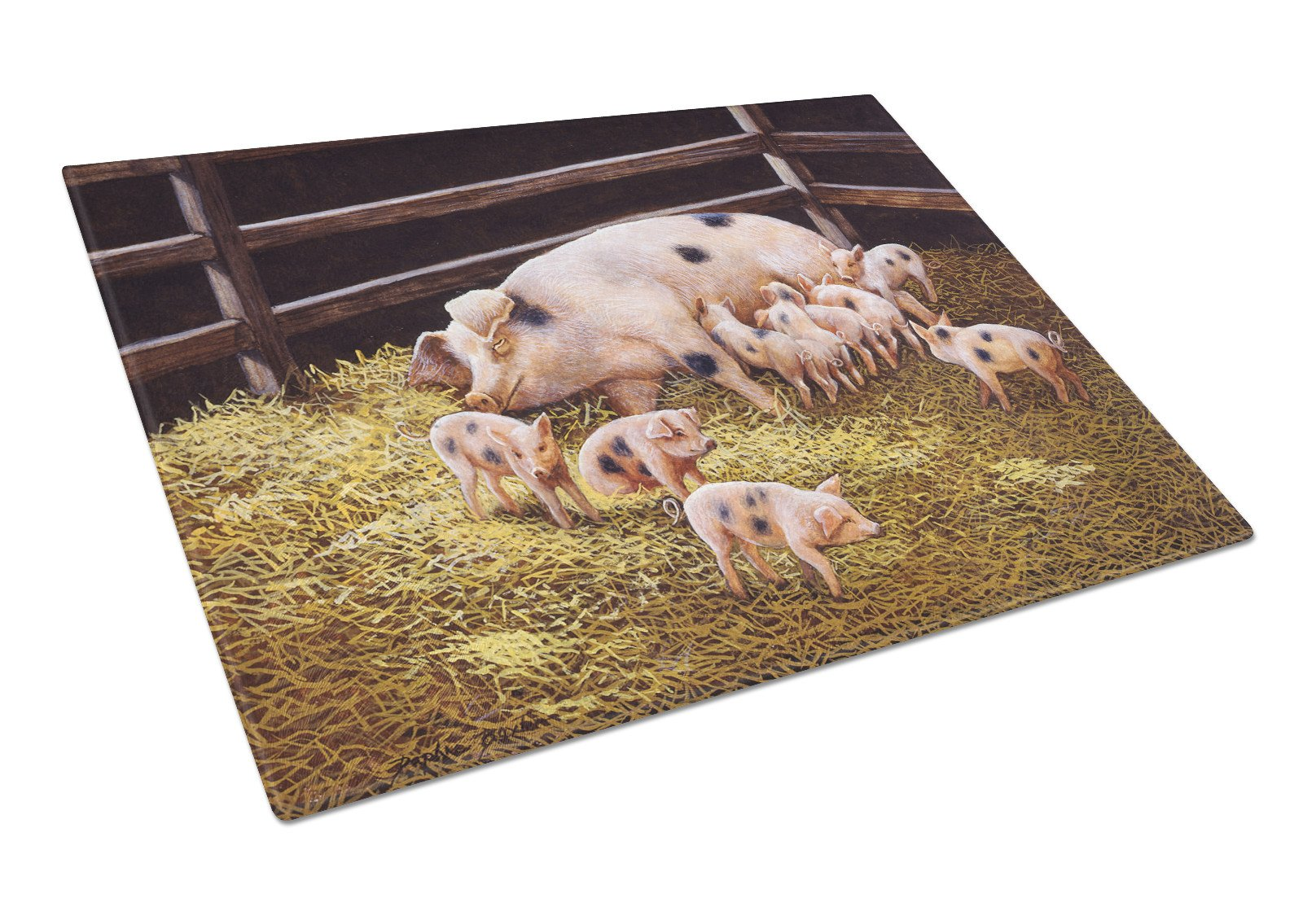 Pigs Piglets at Dinner Time Glass Cutting Board Large BDBA0296LCB by Caroline's Treasures