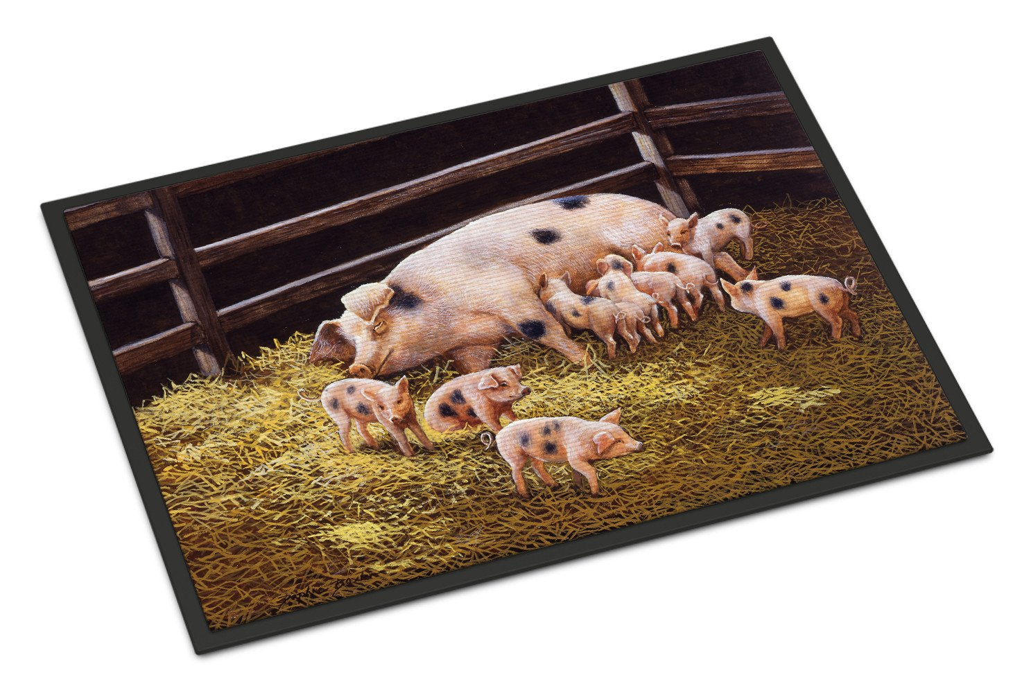 Pigs Piglets at Dinner Time Indoor or Outdoor Mat 18x27 BDBA0296MAT - the-store.com