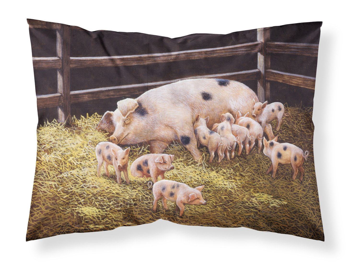 Pigs Piglets at Dinner Time Fabric Standard Pillowcase BDBA0296PILLOWCASE by Caroline's Treasures
