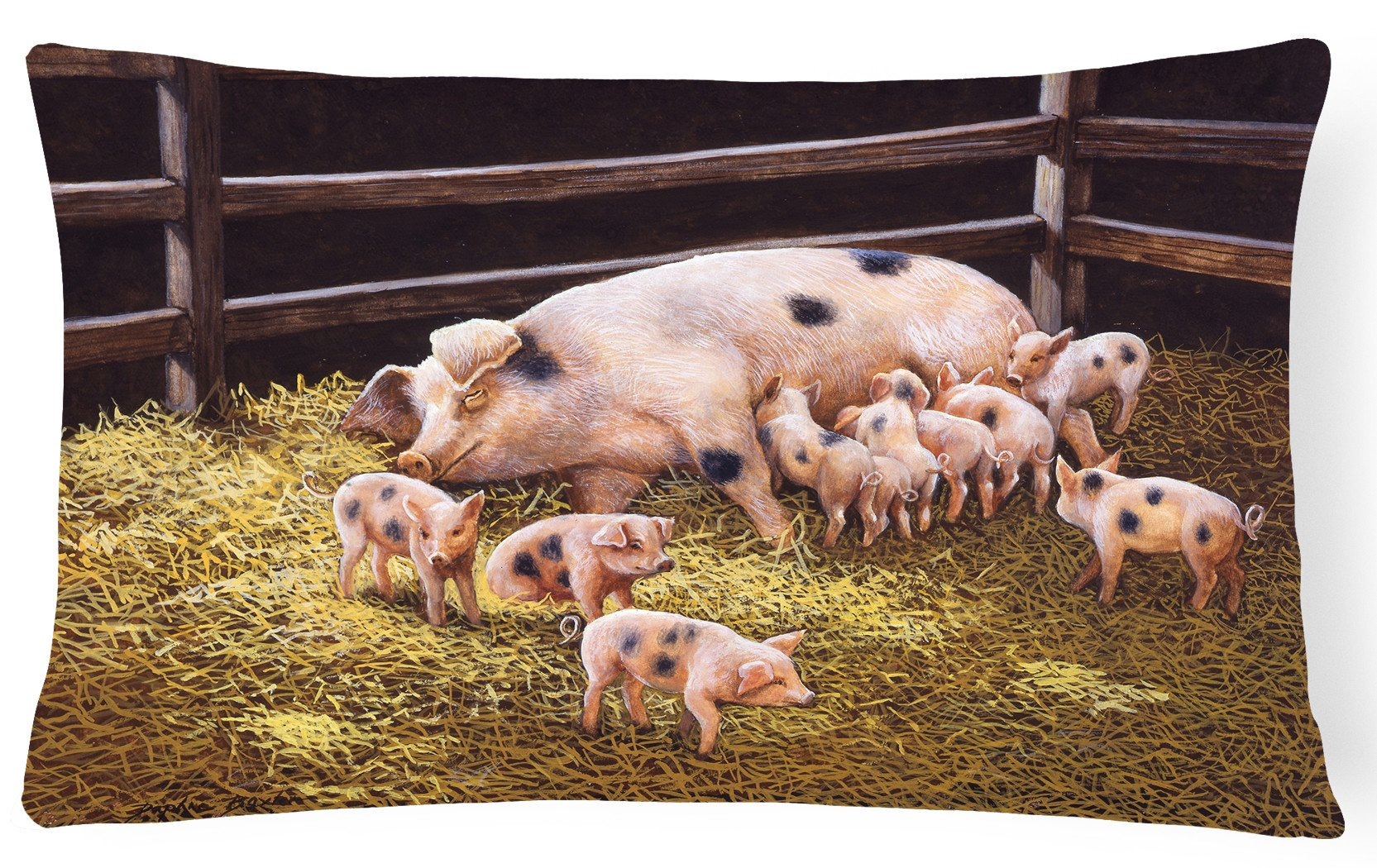 Pigs Piglets at Dinner Time Fabric Decorative Pillow BDBA0296PW1216 by Caroline's Treasures