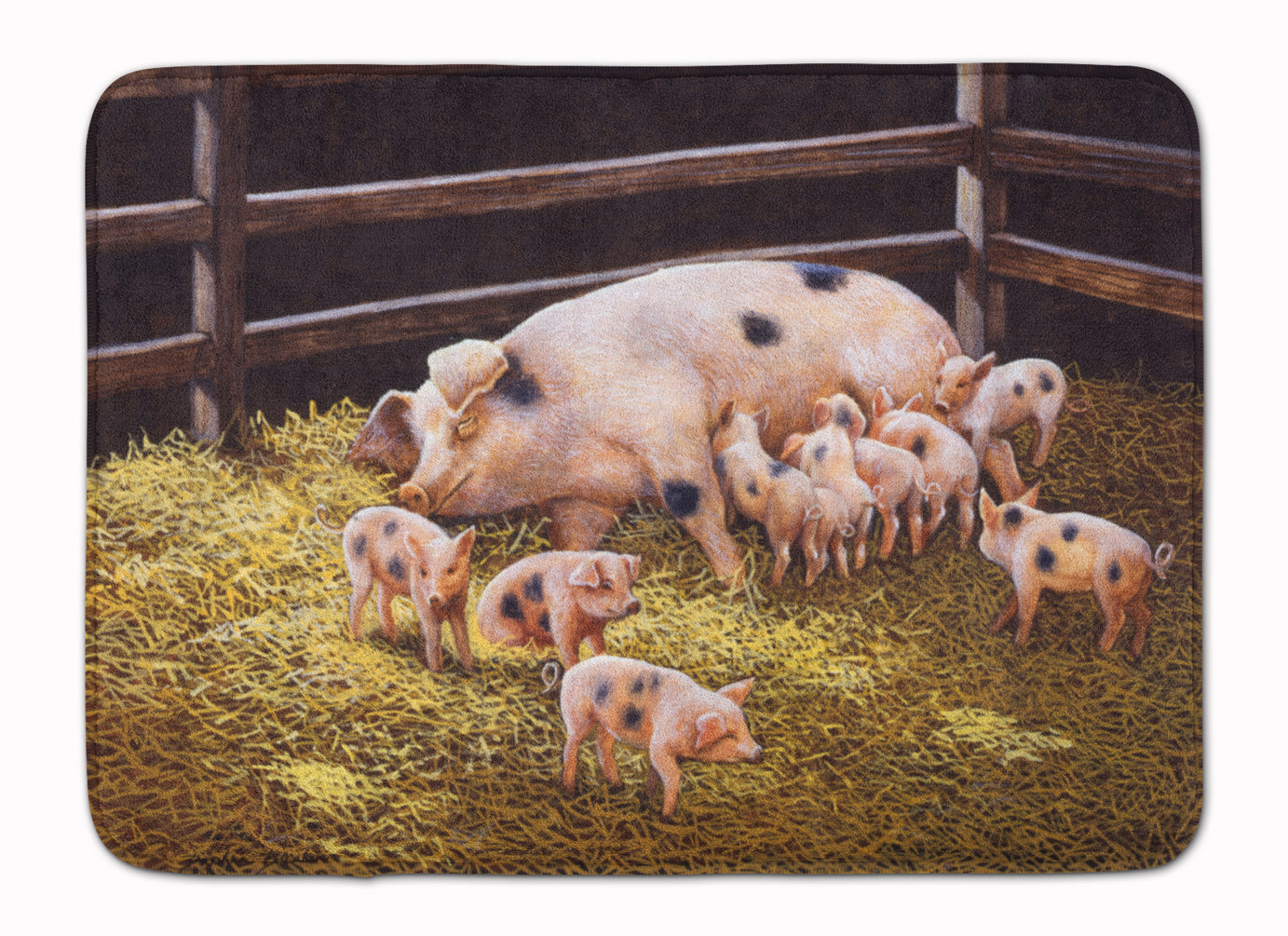 Pigs Piglets at Dinner Time Machine Washable Memory Foam Mat BDBA0296RUG by Caroline's Treasures