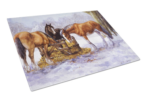 Buy this Horses eating Hay in the Snow Glass Cutting Board Large BDBA0297LCB