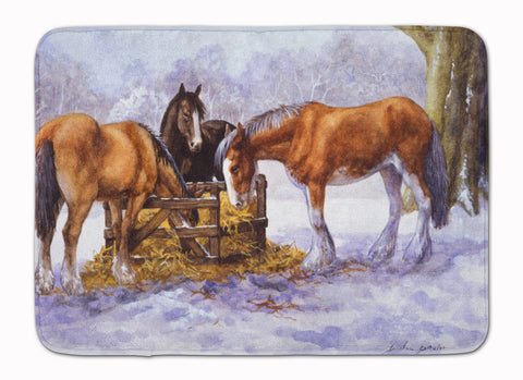 Buy this Horses eating Hay in the Snow Machine Washable Memory Foam Mat BDBA0297RUG