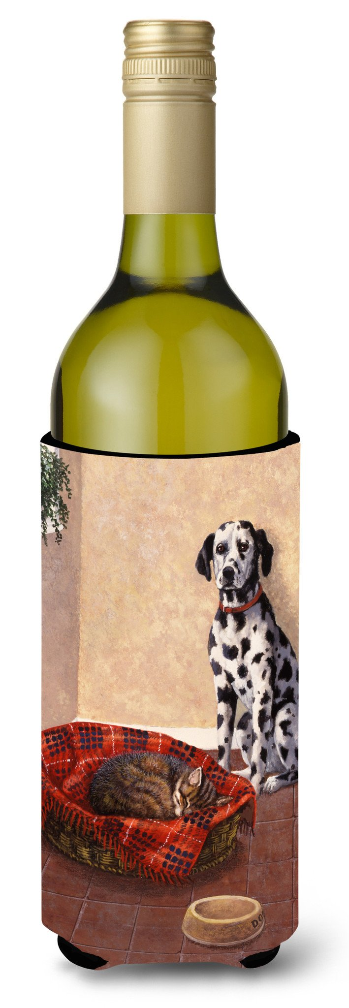 Dalmatian Somebody is in my bed Wine Bottle Beverage Insulator Hugger BDBA0305LITERK by Caroline's Treasures