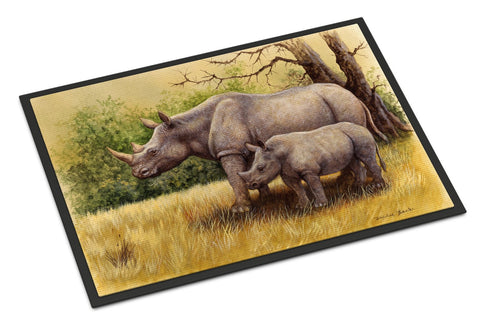 Buy this Rhinoceros by Daphne Baxter Indoor or Outdoor Mat 18x27 BDBA0306MAT