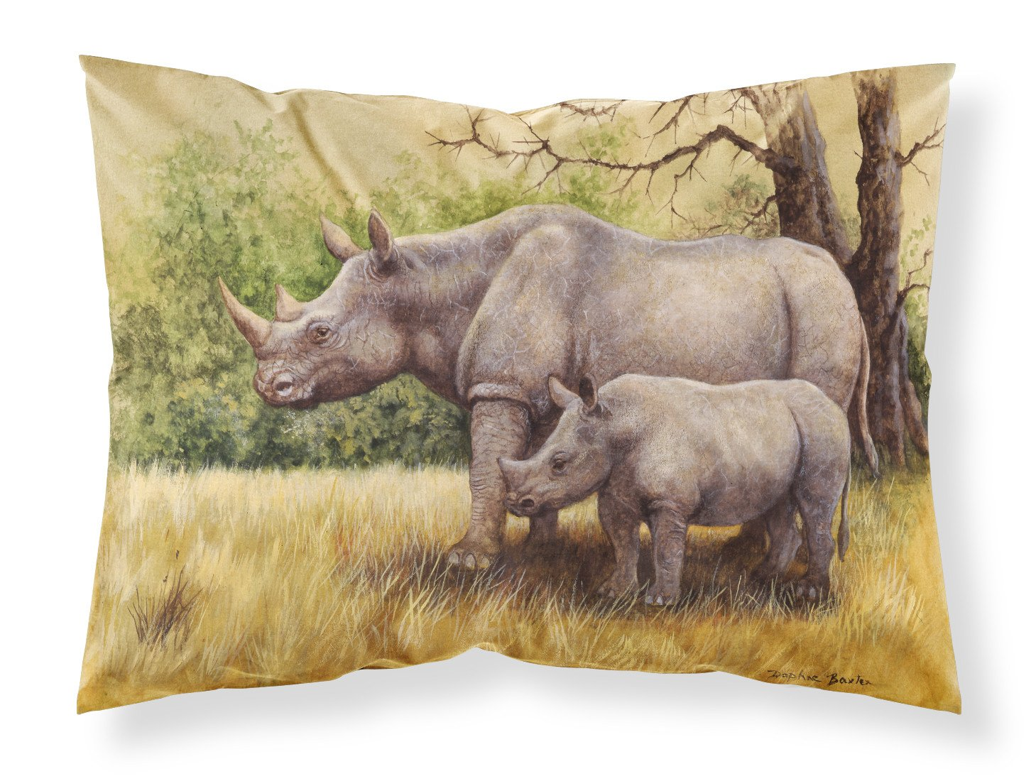 Rhinoceros by Daphne Baxter Fabric Standard Pillowcase BDBA0306PILLOWCASE by Caroline's Treasures