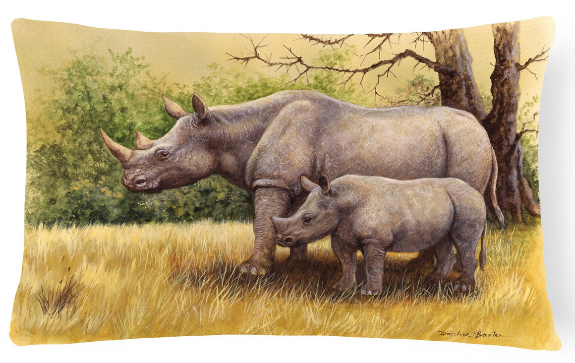 Buy this Rhinoceros by Daphne Baxter Fabric Decorative Pillow BDBA0306PW1216